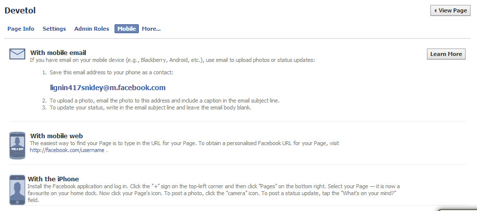 Upload photos by Email in Facebook